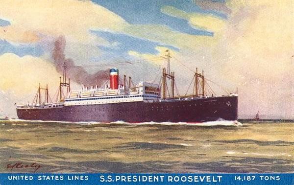 SS President Roosevelt liner postcard