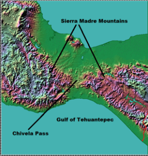 Topography of the Isthmus of Tehuantepec showing the Chivela Pass, Sierra Madre Mountains, and the Gulf of Tehuantepec. Image courtesy of John Hopkins Applied Physics Laboratory