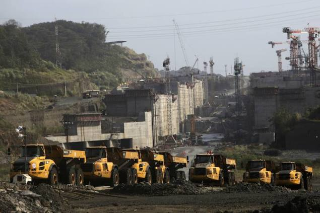 Parked machinery are seen at the construction site of the Panama Canal Expansion project on the outskirts of Colon City February 12, 2014. REUTERS/Carlos Jasso