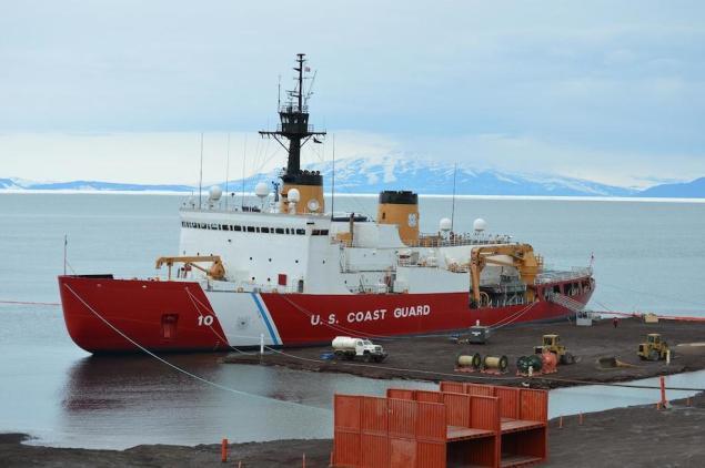 USCGC Polar Star moored at the ice pier in McMurdo, Antarctica, January 24, 2014. U.S. Coast Guard Photo