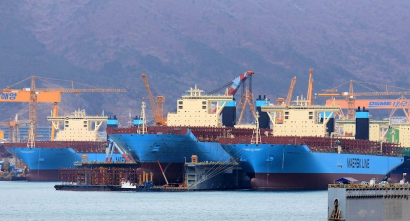 Maersk Triple-E's under construction at the DSME shipyards in 2014. File photo: Lappino
