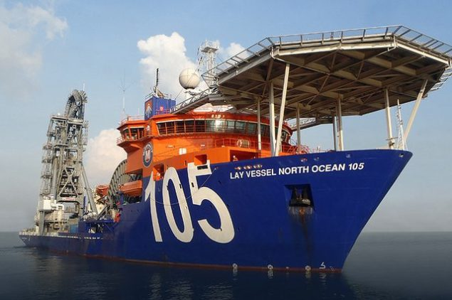 lay vessel north ocean 105 mcdermott offshore pipelay