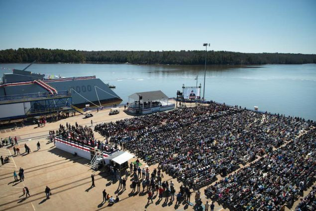 Secretary of the Navy (SECNAV) Ray Mabus and other honored guests attend the christening ceremony for the Zumwalt-class guided-missile destroyer (DDG) 1000, April 12, 2014. U.S. Navy Photo