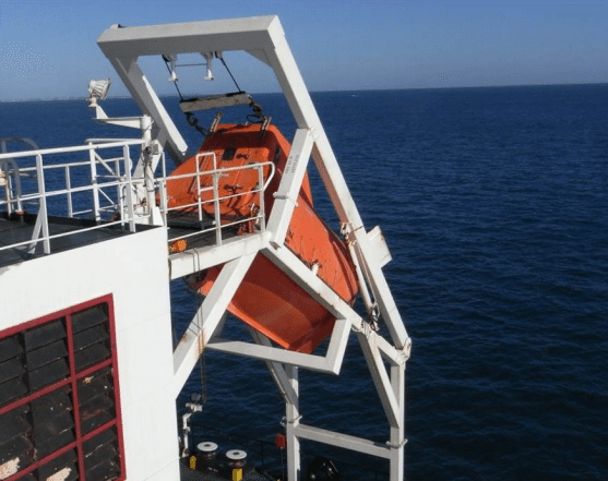 Photo shows the lifeboat aboard the MV Aquarosa. Photo courtesy ATSB