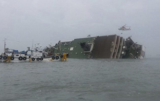 The South Korean passenger ship Sewol is seen sinking off Jindo, April 16, 2014. REUTERS/Yonhap