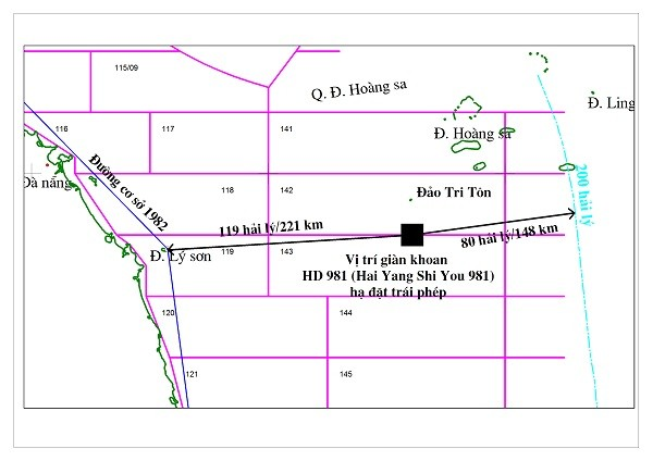 PetroVietnam points out the location of the H?i D??ng 981 (HD-981) drilling rig