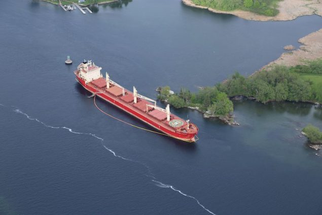 The freighter Federal Kivalina, a 656-foot Hong Kong-flagged vessel, sits at anchor and aground in the St. Lawrence Seaway, May 28, 2014. U.S. Coast Guard Photo