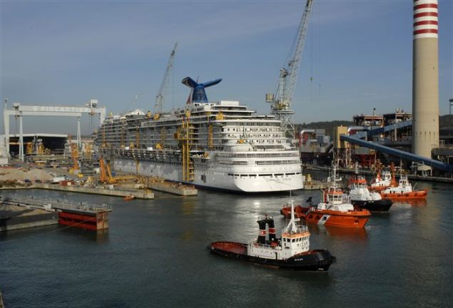 File photo shows a cruise ship under construction at a   Fincantieri shipyard. Photo courtesy Fincantieri - Cantieri Navali Italiani S.p.A.