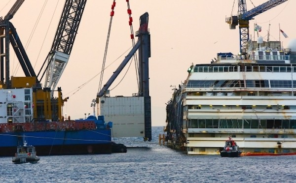A starboard-side sponson is maneuvered into place in preparation for the refloating of the Costa Concordia. File photo courtesy The Parbuckling Project