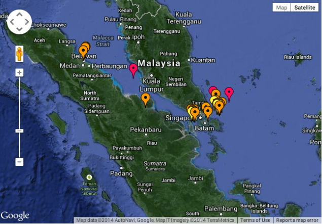 IMB's 2014 Live Piracy Map shows reported piracy incidents in the waters surrounding Singapore. Click to interact