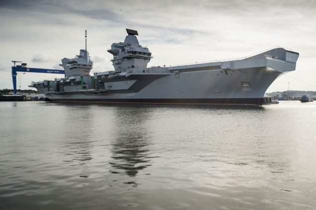 The first Queen Elizabeth-class aircraft carrier, HMS Queen Elizabeth, was floated in July. Photo courtesy Royal Navy