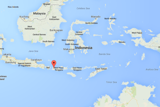Map shows the location of Lombok in Indonesia.
