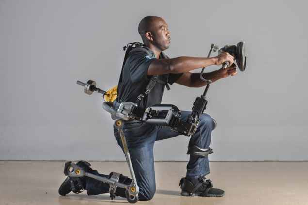 The Lockheed Martin-designed FORTIS exoskeleton allows operators to effortlessly hold objects up to 36 pounds. Photo courtesy Lockheed Martin