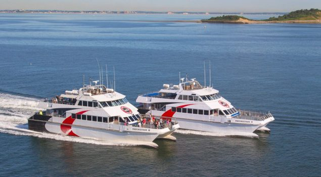 The Provincetown IV ferry, pictured right, alongside its sister ferry, Provincetown III. Photo courtesy Bay State Cruises
