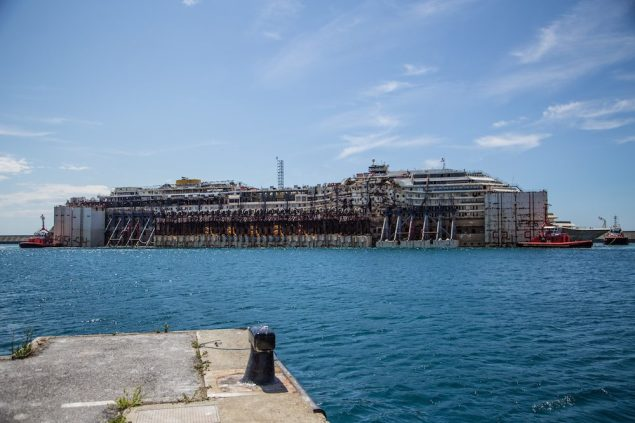 The Costa Concordia berthed at the Port of Genoa. Photo courtesy The Parbuckling Project