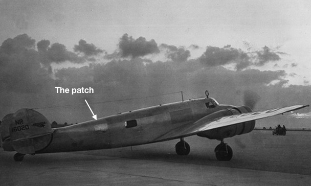 """Amelia Earhart's plane showing the """"Miami Patch"""". Photo credit: TIGHAR"""