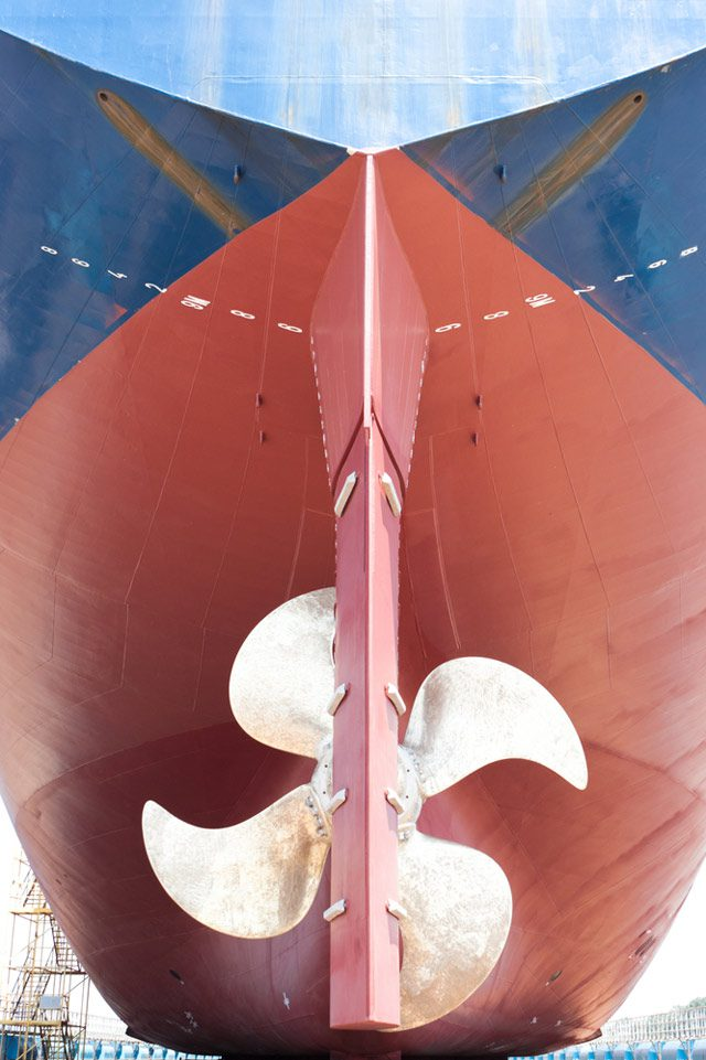 ship rudder propeller stern drydock