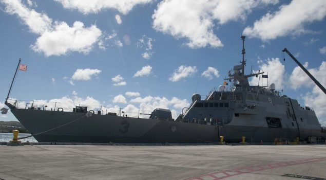 The littoral combat ship USS Fort Worth (LCS 3) is moored at Apra Harbor on U.S. Naval Base Guam, December 11, 2014. U.S. Navy Photo