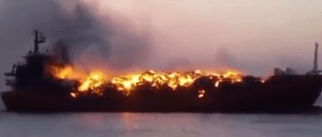 MV Retaj A on fire. Screenshot from video below.