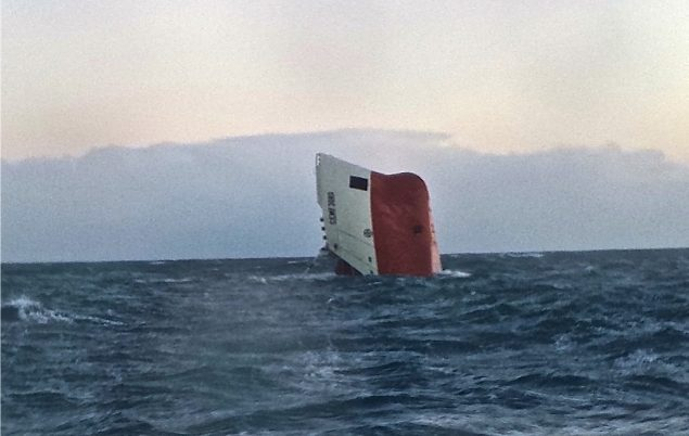 The upturned hull of the MV Cemb