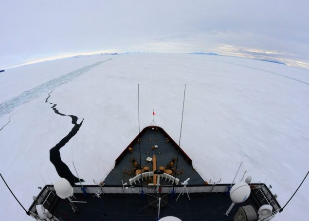 The Coast Guard Cutter Polar Star, a heavy icebreaker homeported in Seattle, breaks a parallel channel in the ice beside a previous channel near the National Science Foundation's McMurdo Station, Antarctica, Jan. 15, 2015. Photo: U.S. Coast Guard