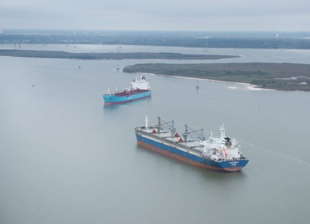 The chemical tanker Carla Maersk and the bulk carrier Conti Peridot off Morgan's Point, Texas, March 10, 2015, after being involved in a collision March 9, 2015.