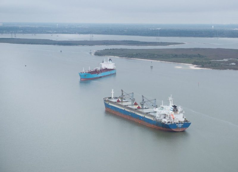The chemical tanker Carla Maersk and the bulk carrier Conti Peridot off Morgan's Point, Texas, March 10, 2015, after being involved in a collision March 9, 2015. U.S. Coast Guard Photo