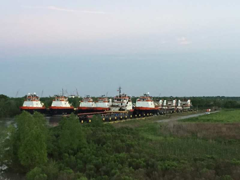 Stacked Hornbeck OSVs hidden away in a Louisiana bayou in April 2015.