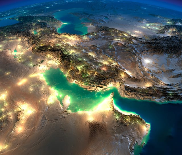 persian gulf map night iran qatar bahrain uae