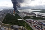Fuel Storage Tanks on Fire Near Port of Santos, Brazil
