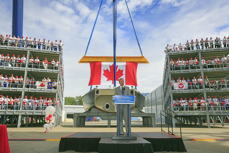 Jonathan Whitworth, Seaspan CEO, addressing the crowd at today's event celebrating the official start of construction on the first Offshore Fisheries Science vessel. Photo: Seaspan Vancouver