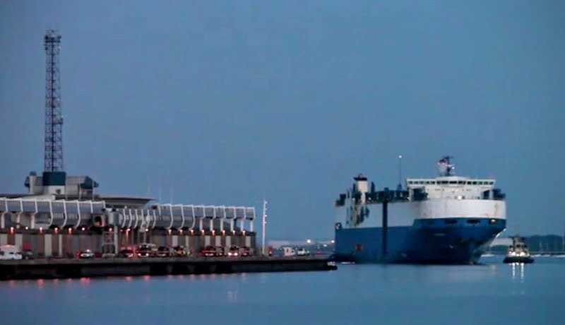 American Flagged RoRo M/V Courage's Arrival in Southhampton