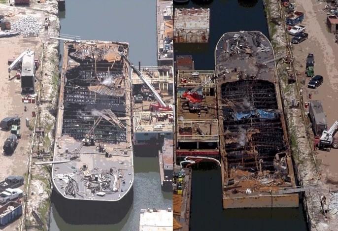 The EMC 423 Barge Post Explosion. Photo: U.S. Coast Guard