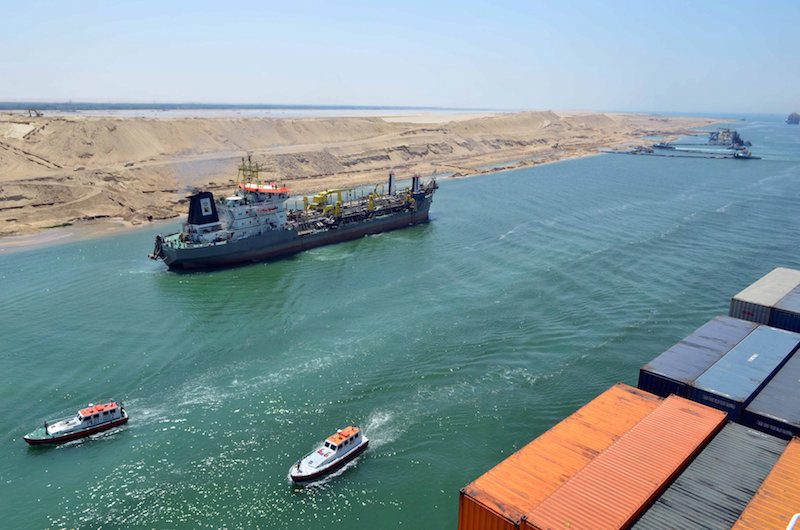 A cargo ship takes a test run through the New Suez Canal, July 25, 2015. Photo: REUTERS/Stringer