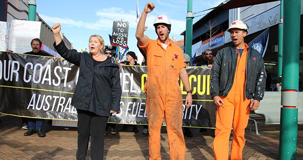 Part of the Alexander Spirit crew lead the rally in Devonport, Tasmania, July 6, 2015. Photo: Maritime Union of Australia