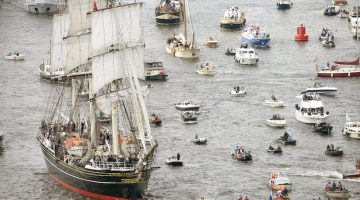 The Stad Amsterdam (L) clipper. REUTERS/Toussaint Kluiters/United Photos