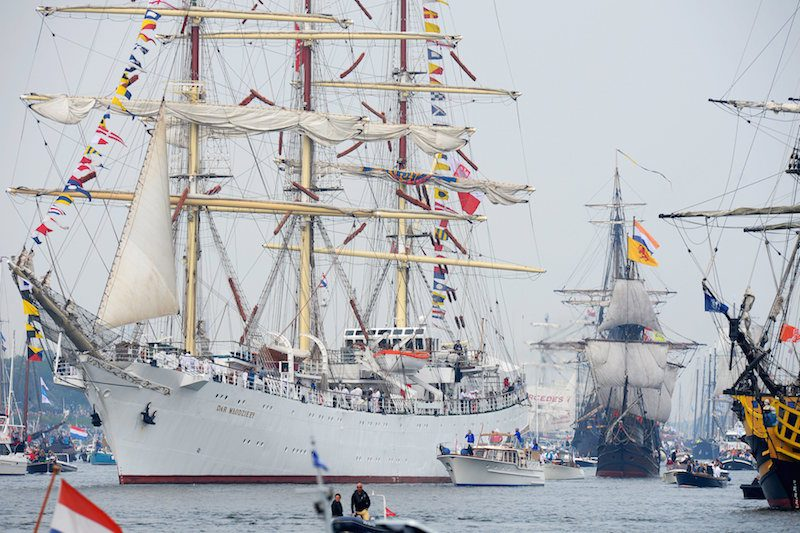 Poland's Tall ship Dar Mlodziezy is seen during the Sail-In Parade. REUTERS/Paul Vreeker/United Photos