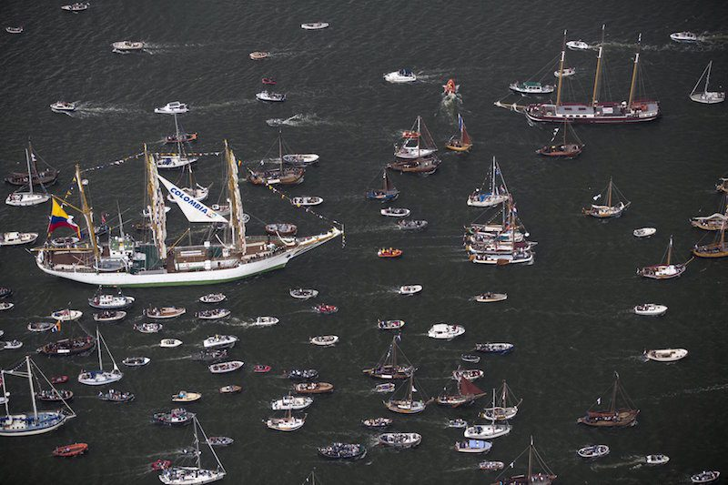A tall ship sails during the Sail-In Parade. REUTERS/Cris Toala Olivares