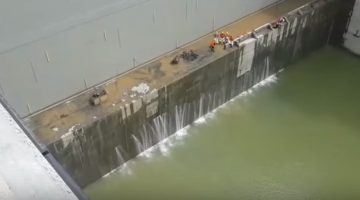 Water seeps through concrete in one of the chambers of the Cocoli Locks in the Panama Canal.