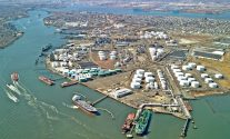 The IMTT Bayonne terminal is a 600 acre full service complex at the confluence of the Kill van Kull and Upper New York Harbor, 10 miles south of Manhattan. Photo: IMTT