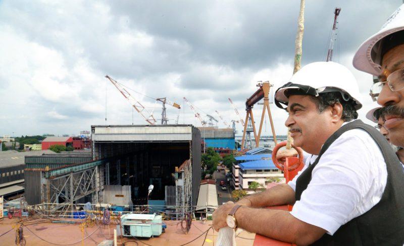 Union Minister Mr. Shri Nitin Gadkari at the Cochin shipyard. File photo: Bharatiya Janata Party