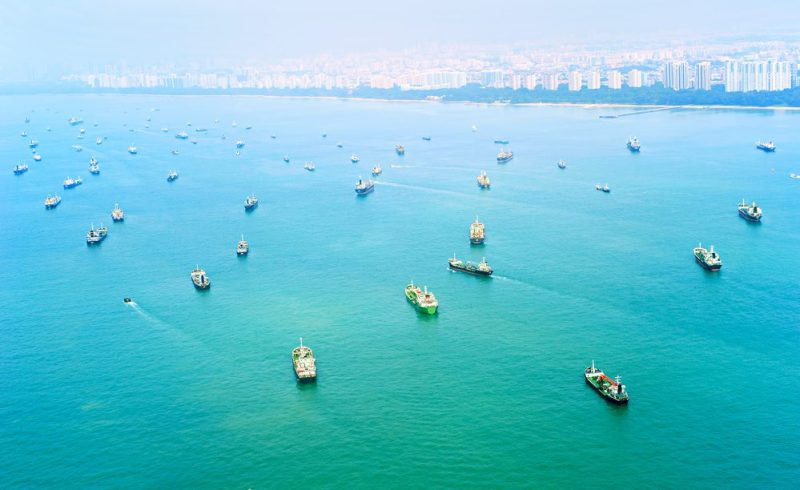 Ships in Singapore harbor. Photo: Shutterstock/joyfull