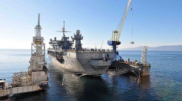 150119-N-VY489-116  The U.S. 6th Fleet command and control ship USS Mount Whitney (LCC20) is tugged in to the staging area to begin the dry dock process in the Viktor Lenac Shipyard in Rijeka, Croatia, January 19, 2015. U.S. Navy Photo