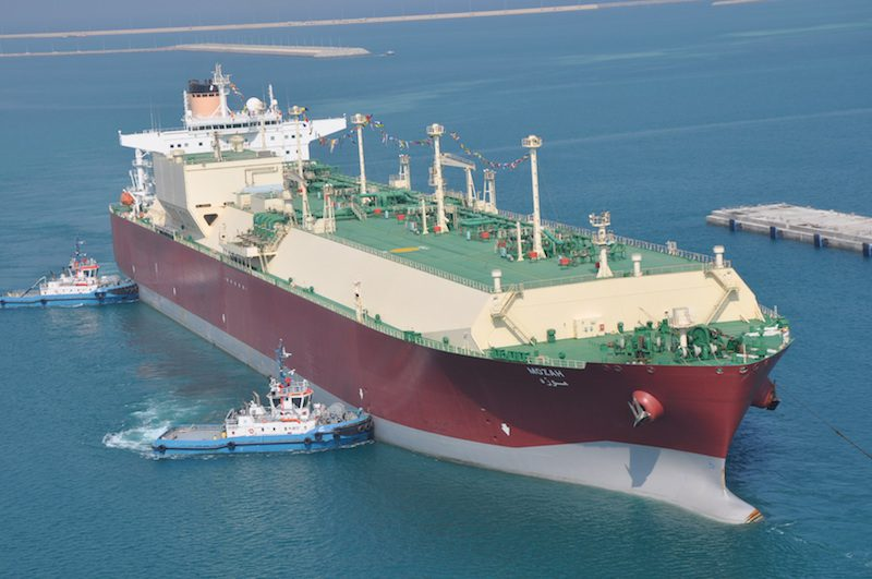 Nakilat's flagship, the Q-Max LNG carrier, Mozah, in port at Ras Laffan. Photo credit: Nakilat