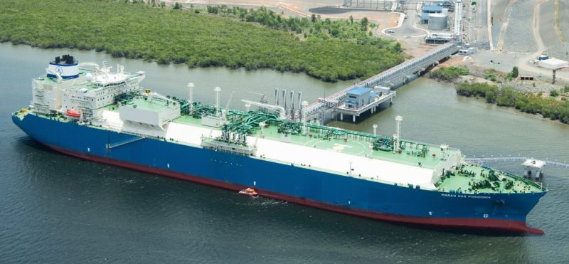 An LNG carrier Maran Gas Posidonia loads the first LNG cargo from Train 2 at Queensland Curtis LNG (QCLNG) facility in Australia, July 2015. Photo: BG Group