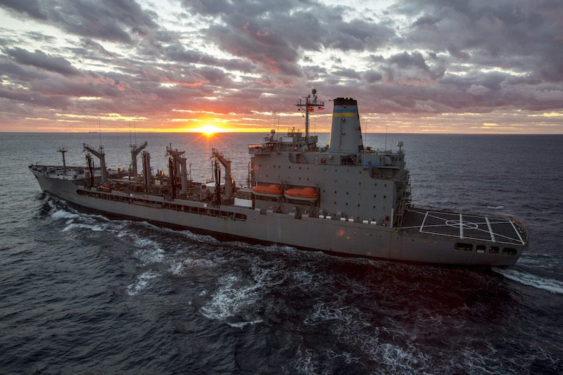 141104-N-SB587-078 ATLANTIC OCEAN (Nov. 8, 2014) The Military Sealift Command fleet replenishment oiler USNS John Lenthal (T-AO 189) transits the atlantic Ocean during the multi-national exercise Bold Alligator 2014 (BA14). Bold Alligator is intended to improve Navy and Marine Corps amphibious core competencies. Working with coalition, NATO, allied and partner nations is a necessary investment in the current and future readiness of our forces. The exercise takes place Oct. 29-Nov. 10, 2014 afloat and ashore along the Eastern Seaboard. #BoldAlligator14 (U.S. Navy photo by Mass Communication Specialist 2nd Class Corbin J. Shea/Released)