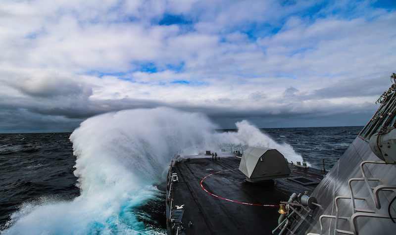 150317-N-EW716-001 PACIFIC OCEAN (March 17, 2015) The littoral combat ship USS Freedom (LCS 1) is underway off the coast of Oregon conducting rough water trials. (U.s. Navy photo/Released)