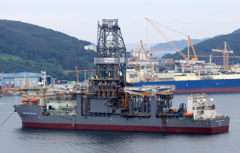 Transocean drillship Deepwater Thalassa under construction at DSME. Photo: Lappino