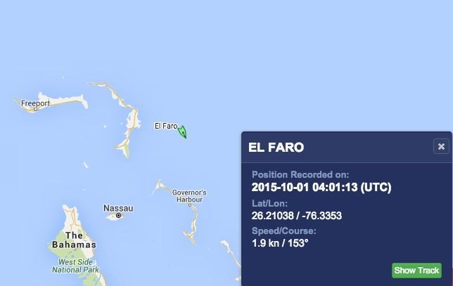 Last known position transmitted by El Faro according to MarineTraffic.com.