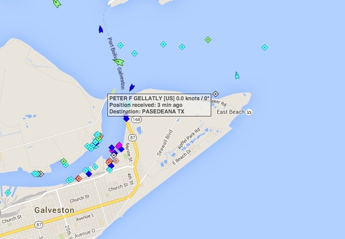 Position of tug Peter F Gellatly. Credit: MarineTraffic.com